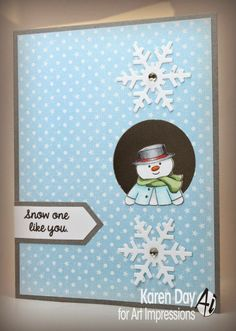 Art Impressions Rubber Stamps: Mini Front & Back Stamps & DIES Snowman & Penguin Set (Sku#4508) Handmade winter Christmas card