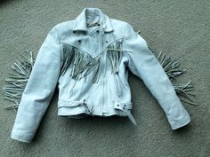 White Leather Fringe Jacket 80s Medium in Clothing, Shoes & Accessories | eBay (already sold)