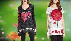 #Desigual Shirt - Modelle Minute und Jude, Muster: herzlich, floral, ethnisch, Text und Mandala, schwarz, weiß..