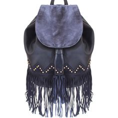 Liquorish Navy Backpack With Fringing ($60) ❤ liked on Polyvore featuring bags, backpacks, blue, blue fringe backpack, fringe backpack, navy bag, rucksack bag and blue fringe bag
