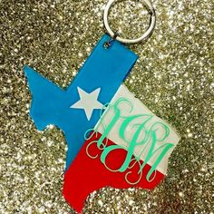 Texas Flag Monogrammed Keychain by SweetSouthernThing on Etsy
