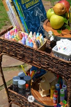 This outdoor activity cart is perfect for creative play dates with your kids!