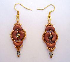 Dangling earringscopper earringsgold seed bead by JoolsbyAveril