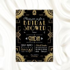 The Great Gatsby Theme Bridal Shower Invitation // Bachelorette Party //  Roaring 20's // Art Deco // PRINTABLE!   by andreahenebrydesign on Etsy https://www.etsy.com/listing/242753041/the-great-gatsby-theme-bridal-shower