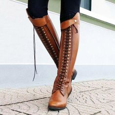 62ff85c415c56 Women Horse Riding Booties Casual Lace-Up Boots  horseridingstyle Thick  Heel Boots