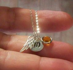 initial, angel wing, and birth stone