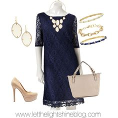 Navy lace dress, nude shoes