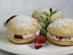 Puff Stacks with Strawberry Cream