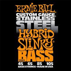 Amazon.com: Ernie Ball 2843 Hybrid Slinky Stainless Steel Bass Set (45 - 105): Musical Instruments