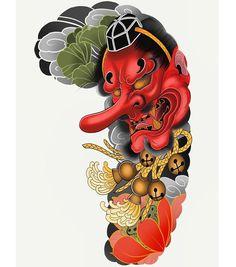 Kapala and hoju… Japanese Dragon Tattoos, Japanese Tattoo Art, Japanese Tattoo Designs, Japanese Sleeve Tattoos, Full Sleeve Tattoos, Tengu Tattoo, Demon Tattoo, Irezumi Tattoos, Skull Tattoos