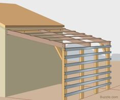 Arrange wood planks covering roof