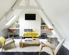 living room and work space in the attic