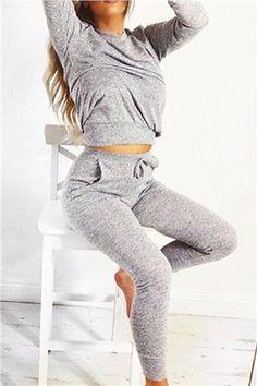Roberta Grey Loungewear Set at misspap.co.uk