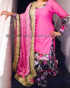 Hi everyone,  My first patiala suit is out from my spring/summer collection  Silk base embellished with synthetic floral lace and floral salwar. Brasso duppata embellished with golden lace/gotta. Perfect for parties for those who dont like heavy suits. For pre order email me at maharanibq@gmail.com My fb like page www.facebook.com/couturebynav Also follow me on tweeter @couturebynav  #brassofabric#floral#synthetic#salwar