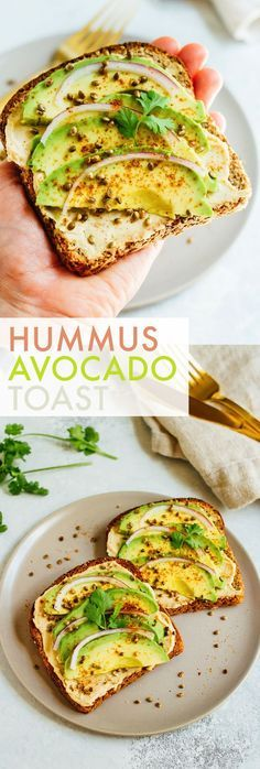 Hummus avocado toast makes for a quick and easy breakfast or snack idea. Load up each slice with red onion, cilantro and toasted hemp seeds for extra flavor and crunch.