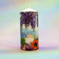Large wax pillar candle - Tranquility - Floral design - effect cand – Candle Affair Merry Christmas Card, Christmas Candles, Decorative Pillars, Large Pillar Candles, Gifts For An Artist, 21st Gifts, Burning Candle, Candlesticks, Decorative Accessories