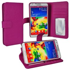 myLife Violet Purple {Classic Design} Faux Leather (Card, Cash and ID Holder + Magnetic Closing) Slim Wallet for Galaxy Note 3 Smartphone by...