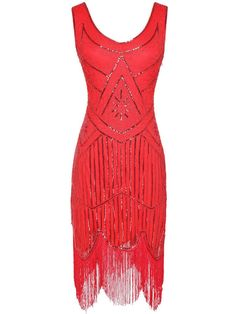 Sequin Fringed Flapper Dresses – Retro Stage - Chic Vintage Dresses and Accessories Red Flapper Dress, 1920 Flapper Dresses, 20s Dresses, Sequin Evening Dresses, 1920s Dress, Retro Dress, Vintage Dresses, Vintage Prom, Evening Gowns