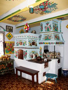 Recreated folk kitchen at the Muzeum Okręgowe in Zalipie, Poland Poland Country, Polish Folk Art, Poland Travel, Romania Travel, Bohemian Interior, Krakow, House Painting, Sweet Home, Interior Design