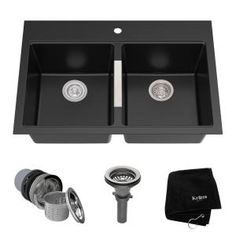 Kraus Granite x Black Onyx Double-Basin Drop-In or Undermount Commercial/Residential Kitchen Sink at Lowe's. Kraus dual mount granite sinks create an instant style upgrade for the kitchen. Constructed from natural granite, with the look and feel of real Granite Composite Sinks, Composite Kitchen Sinks, Granite Kitchen Sinks, Modern Kitchen Sinks, Cool Kitchens, Kitchen Fixtures, Remodeled Kitchens, Farmhouse Kitchens, Copper Kitchen