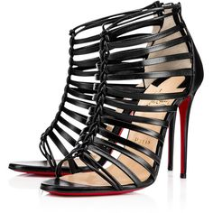 Christian Louboutin Milla (€965) ❤ liked on Polyvore featuring shoes, sandals, heels, christian louboutin, black, black leather sandals, black strappy shoes, strap sandals, strappy sandals and black sandals