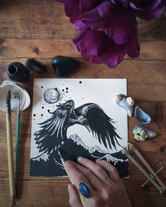 Really cool #penandink #drawing by @swimming_in_moonlight of a #raven #flying over an open #sea. That is an awesome looking raven! Very #macabre but it is also obviously searching for something which makes me curious about what the #bird could want across the #water or under the water. Great job on the #feathers and the #beak and the #lighting on the raven. I love how the #waves of the water seem to be drawn in a style similar to classic #Japanese #painting #TheGreatWave.  Not sure if that…