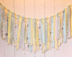 Rag Tie Banner, Yellow Aqua Grey, Lace, Shabby Chic, Rag Tie Garland, Photo Prop, Wedding, Shower, Custom, Nursery, Cake Smash