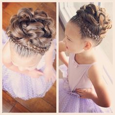 C with fancy hair for dance class. Dutch braided crown braid with pinned curls in the middle. Kids Updo Hairstyles, Flower Girl Hairstyles, Little Girl Hairstyles, Wedding Hairstyles, Little Girl Updo, Toddler Updo, Flower Girl Updo, Communion Hairstyles, Girls Updo