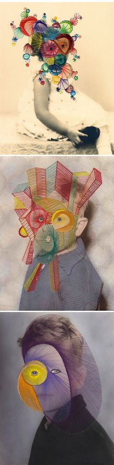 ilustração e bordado - illustrarion and emroidered maurizio anzeri Collages, Collage Art, Instalation Art, Textiles, Gcse Art, Embroidery Art, Geometric Embroidery, Art Plastique, Graphic