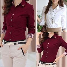 Fashion Women's Spring OL Office Work Long Sleeve Button down Tops Blouse Shirt