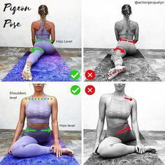 ✨HOW TO DO PIGEON POSE✨This is one of my favorite poses because it is one of the most effective hip openers. It also stretches the front body, abdomen, groin, and psoas. - Correct ✅: • Arch of foot is flat on the floor (not to the side). • Hips are square and level. This starts with your back foot. You can tuck your back toes under to help spiral your thigh down. • Thigh spirals down. This will position your hips to the correct level. Your knee should facing the floor, not the side. • ...