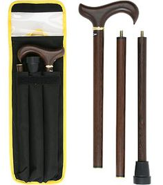 Wenge 3 Piece Folding Derby Walking Cane With Wenge Wood Shaft and Brass Collar Wenge Wood, Walking Canes, Walking Sticks, Black Canvas, Can Opener, 3 Piece, Derby, Brass, Exotic
