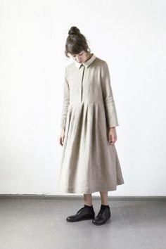 muku 襟付きドレス ベージュ レディースの通販・お取り扱いkatari-愛知県のセレクトショップ