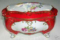 Vintage Porcelain Trinket Box Ilmenau Henneberg German (12/02/2007) White Paneling, Box With Lid, Trinket Boxes, Tart, German, Porcelain, Antiques, Red, Vintage