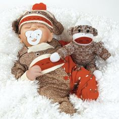 """baby dolls that look real   Baby Doll That Looks Real, Sock Monkey Business 16"""" (Weighted Body ..."""