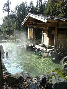 """Nyuto Onsen means """"nipple hot spring"""" and comes from the suggestive shape of nearby Mount Nyuto rather than the milky/cloudy appearance of the area's hot spring water. Tsurunoyu Onsen, the oldest operating ryokan of Nyuto Onsen, has large, mixed gender outdoor bath and is iconic of the region. Take me now. <3"""