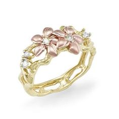 Maui Divers Jewelry - Plumeria Ring with Diamonds in 14K Two-Tone Gold - US$775 / AU$828.63 (5th Aug)