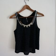 Free People Beaded Tank never worn! perfect for layering for on its own Free People Tops Tank Tops