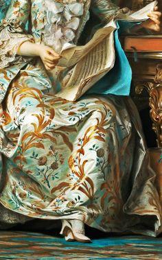 Portrait of the Marquise de PompadourbyMaurice Quentin de La Tour, between1748 and 1755, detail.