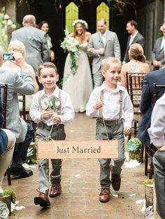 Wood ring bearer sign for a natural wedding