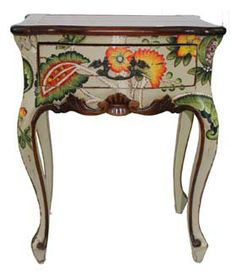 Hand painted in wheat berry with a distressed finish. Hand painted floral artwork decorates the table beautifully. 24(h)x19(w)x13(d) http://www.cottagerowfurniture.com/Furniture/accent-tables/vivienne-lamp-table-3