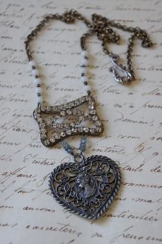 SALE 20OFF Emily's HeartVintage assemblage by frenchfeatherdesigns, $76.80 was 98