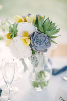 pretty succulent bouquet http://www.weddingchicks.com/2013/10/09/romantic-ranch-wedding/