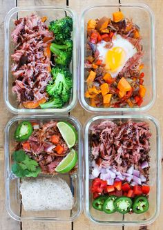Pulled Pork Meal Prep Bowls: 4 Ways - the perfect way to use up leftover pulled pork! These meal prep bowls can be made all together to fight meal prep boredom. Lunch Meal Prep, Meal Prep Bowls, Easy Meal Prep, Healthy Meals For Two, Healthy Meal Prep, Healthy Recipes, Diabetic Meals, Simple Recipes, Clean Eating Snacks