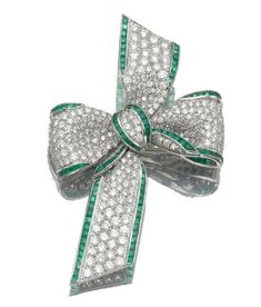 1920s Tiffany & Co. Emerald and Diamond Bow Brooch - Sotheby's via Jewels du Jour