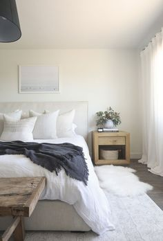 The Wythe bed makes its debut in the home of interior designer rendered in luxurious Natural Performance Washed Linen. ☁ bedroom interior design Maiden Home Diys Room Decor, Home Decor Bedroom, Bungalow Bedroom, Bedroom Furniture, Decor Ideas, Bedroom Decor For Boys, Cozy Master Bedroom Ideas, Adult Bedroom Ideas, Furniture Ideas