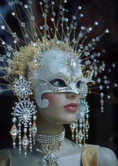major white and gold masqerade mask