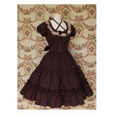 Lace ruffle classic lolita dress cotton brown