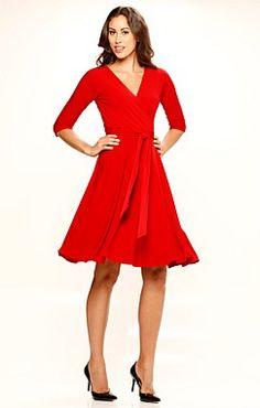 Sacha Drake Reverse Wrap Full Skirt Dress - Womens Knee Length Dresses at Birdsnest Wrap Dress Outfit, Red Wrap Dress, Drake Clothing, Casual Dresses, Fashion Dresses, Reversible Dress, Winter Dress Outfits, Women's Knee Length Dresses, Full Skirt Dress