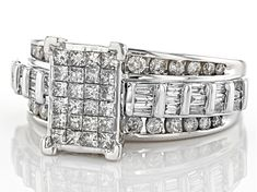 round, baguette and princess cut white diamond, white gold quad ring. measures approximately x and is not sizeable. Diamond Gemstone, Diamond Rings, Metal Jewelry, Fine Jewelry, Antivirus Protection, Broken Chain, Types Of Rings, Gold Material, White Gold Rings
